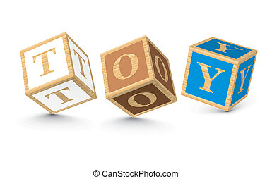 Word TOY written with blocks