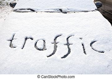 Word traffic in snow on hood of car