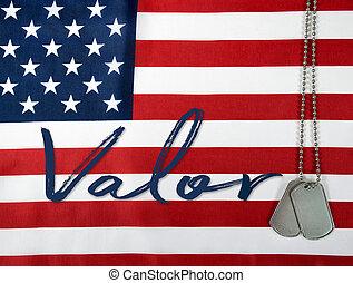 word valor and dog tags on flag