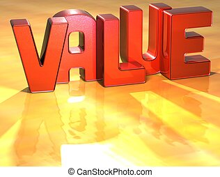 Word Value on yellow background (high resolution 3D image)