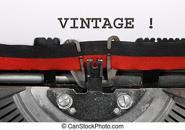 Word VINTAGE written with the old typewriter
