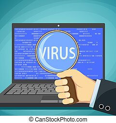 Word virus on the laptop screen. Protection against cyber attack