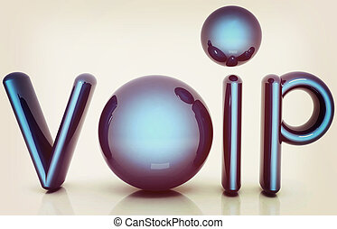 Word VoIP with 3D globe. 3D illustration. Vintage style.