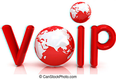 Word VoIP with 3D globe. Anaglyph. View with red/cyan glasses to see in 3D. 3D illustration