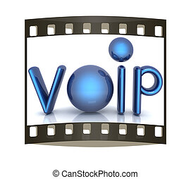 Word VoIP with 3D globe. The film strip