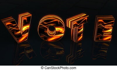 Word Vote written in 3D letters on black background woth...
