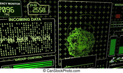 """Word """"Warning"""" flickes on a HUD Futuristic technological background - green gamma"""