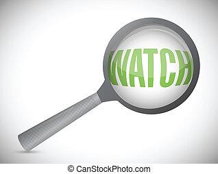 word watch under a magnifier. illustration