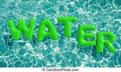 """word """"WATER"""" shaped inflatable swim ring floating in a refreshing blue swimming pool"""