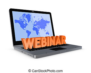 Word WEBINAR. Isolated on white background.3d rendered.