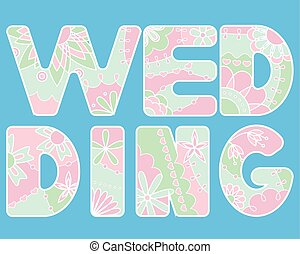 Vector word wedding painted colorful