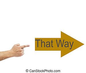 word:, weg, finger, zeigt, hand