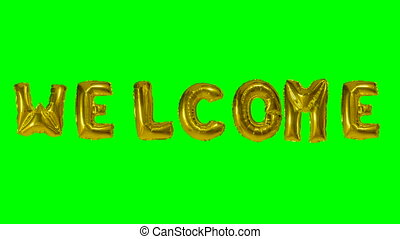 Word welcome from helium gold balloon letters floating on...
