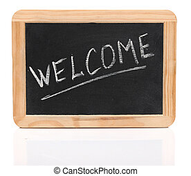 "word ""welcome"" - white chalk handwriting on small school wooden blackboard"
