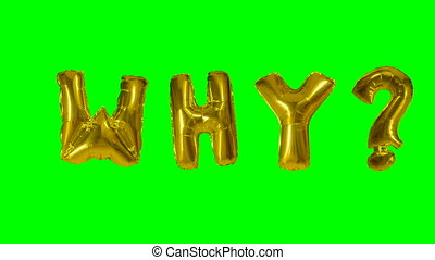 Word why from helium gold balloon letters floating on green...
