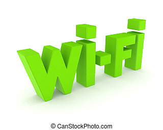 Word wi-fi.Isolated on white background.3d rendered illustration.