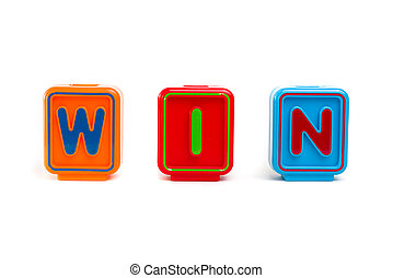 "Word ""WIN"" with colorful blocks and white background"