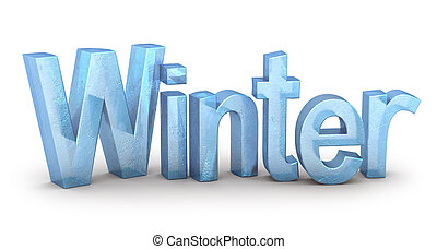 Word Winter from ice, on white background
