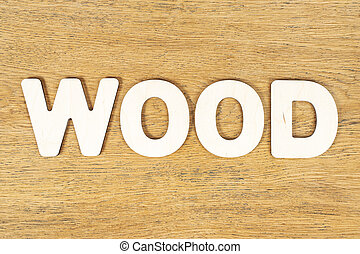 word wood of wooden letters on table