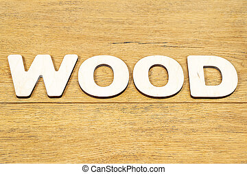 Word wood on a wooden table