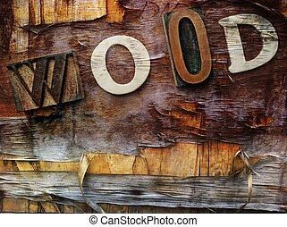 """Word """"wood"""" on wooden background"""