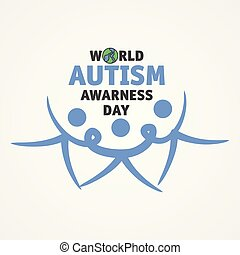 Word world autism awareness day with three people join hands