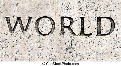 """Word """"World"""" Carved in Gray Granite Stone"""