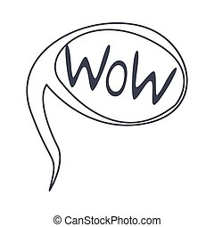 Word Wow, Hand Drawn Comic Speech Bubble Template, Isolated...