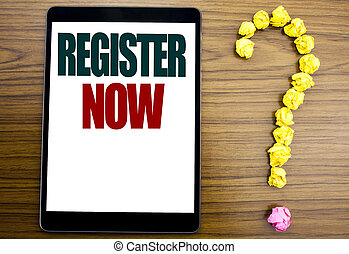 Word, writing Register Now. Business concept for ...
