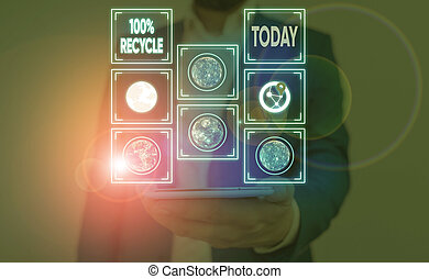 Word writing text 100 Percent Recycle. Business concept for contains 100 percent postconsumer recovered material Elements of this image furnished by NASA.