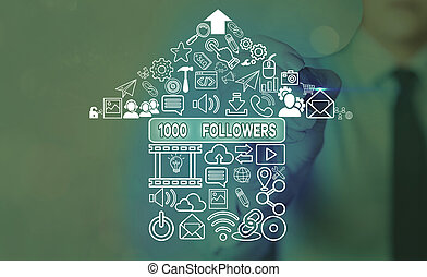 Word writing text 1000 Followers. Business concept for number of individuals who follows someone in Instagram.