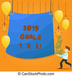 Word writing text 2019 Goals 1 2 3. Business concept for Resolution Organize Beginnings Future Plans.
