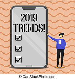 Word writing text 2019 Trends. Business concept for New year developments in fashion Changes Innovations Modern.