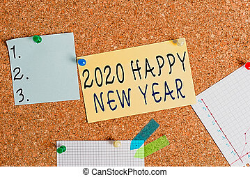 Word writing text 2020 Happy New Year. Business concept for celebration of the beginning of the calendar year 2020 Corkboard color size paper pin thumbtack tack sheet billboard notice board.