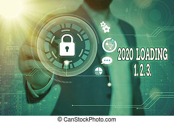 Word writing text 2020 Loading 1. 2. 3.. Business concept for welcoming the beginning of the new year Countdown Graphics padlock for web data information security application system.