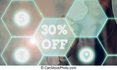 Word writing text 30 Percent Off. Business concept for 30 percent reduction on the original price of a product.