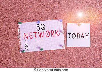 Word writing text 5G Network. Business concept for greatly increase the speed and responsiveness of wireless network Corkboard color size paper pin thumbtack tack sheet billboard notice board.