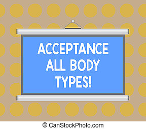 Word writing text Acceptance All Body Types. Business ...