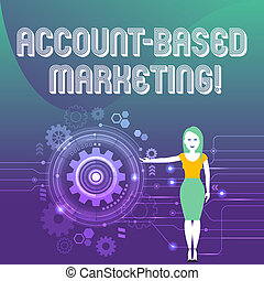 Word writing text Account Based Marketing. Business concept for strategic approach to business based on accounting Woman Standing and Presenting the SEO Process with Cog Wheel Gear inside.