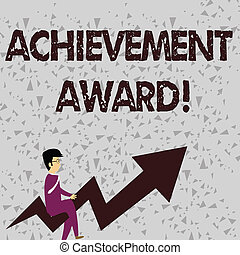 Word writing text Achievement Award. Business concept for recognizes worthy and outstanding achievement in job skill Businessman with Eyeglasses Riding Crooked Color Arrow Pointing Going Up.