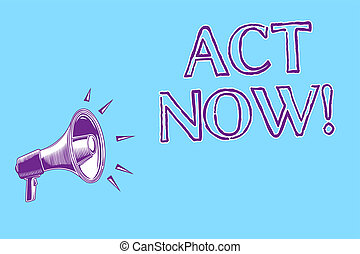 Word writing text Act Now. Business concept for Having fast response Asking someone to do action Dont delay Megaphone loudspeaker blue background important message speaking loud.