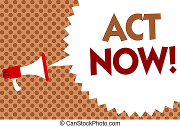 Word writing text Act Now. Business concept for Having fast response Asking someone to do action Dont delay Megaphone loudspeaker speech bubble message orange background halftone.