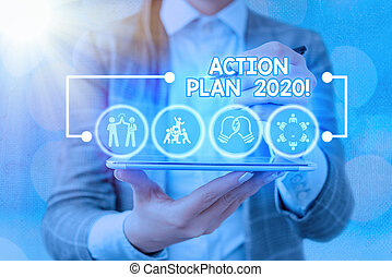 Word writing text Action Plan 2020. Business photo showcasing proposed strategy or course of actions for current year