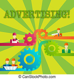 Word writing text Advertising. Business concept for Reach out world branding with digital marketing optimization Cog Gear Setting Icon Connecting Men from Different Professional Character.