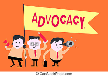 Word writing text Advocacy. Business concept for Profession of legal advocate Lawyer work Public recommendation