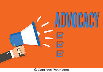Word writing text Advocacy. Business concept for Profession of legal advocate Lawyer work Public recommendation Man holding megaphone loudspeaker orange background message speaking loud.