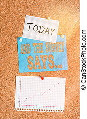 Word writing text And The Survey Says. Business concept for written spoken results of short quiz or exam on internet Corkboard color size paper pin thumbtack tack sheet billboard notice board.