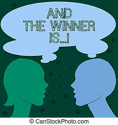 Word writing text And The Winner Is . Business concept for Announcing as first place in competition or race.