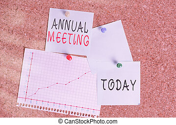 Word writing text Annual Meeting. Business concept for yearly meeting of the general membership of an organization Corkboard color size paper pin thumbtack tack sheet billboard notice board.