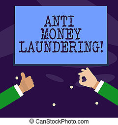Word writing text Anti Money Laundering. Business concept...